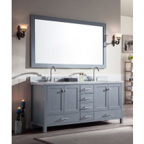 Ariel Cambridge (double) 73-Inch Grey Modern Bathroom Vanity Set with Oval Sinks