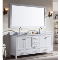 Ariel Cambridge (double) 73-Inch White Modern Bathroom Vanity Set with Oval Sinks