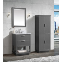 Avanity Allie (single) 25-Inch Twilight Gray Brushed Silver Vanity Cabinet & Optional Countertops