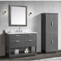 Avanity Allie (single) 43-Inch Twilight Gray Brushed Silver Vanity Cabinet & Optional Countertops