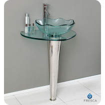 Fresca Netto (single) 24-Inch Clear Glass Modern Bathroom Vanity