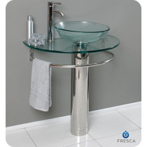 Fresca Attrazione (single) 28.8-Inch Clear Glass Modern Bathroom Vanity