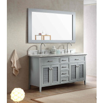 Ariel Kensington (double) 61-Inch Grey Transitional Bathroom Vanity Set