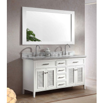Ariel Kensington (double) 61-Inch White Transitional Bathroom Vanity Set