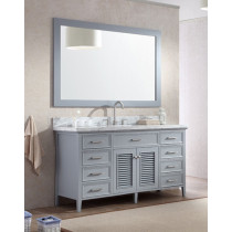 Ariel Kensington (single) 61-Inch Grey Transitional Bathroom Vanity Set