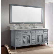 Ariel Kensington (double) 73-Inch Grey Transitional Bathroom Vanity Set