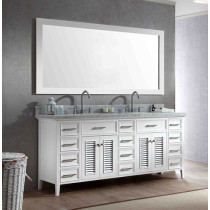 Ariel Kensington (double) 73-Inch White Transitional Bathroom Vanity Set