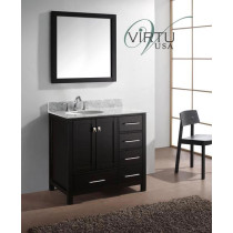Virtu USA Caroline Avenue (single) 36.8-Inch Espresso Contemporary Bathroom Vanity With Mirror