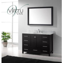 Virtu USA Caroline Avenue (single) 48.8-Inch Espresso Contemporary Bathroom Vanity With Mirror