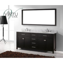 Virtu USA Caroline (double) 72-Inch Espresso Contemporary Bathroom Vanity with Mirror