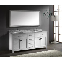 Virtu USA Caroline (double) 72-Inch White Contemporary Bathroom Vanity with Mirror