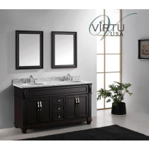 Virtu USA Victoria (double) 60.8-Inch Espresso Transitional Bathroom Vanity With Mirrors