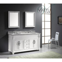 Virtu USA Victoria (double) 60.8-Inch White Transitional Bathroom Vanity With Non Beveled Mirrors