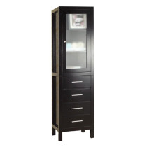 Virtu USA Wellmont 19.7-Inch Espresso Bathroom Side Linen Cabinet