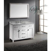 Virtu USA Caroline (single) 48-Inch White Contemporary Bathroom Vanity with Mirror