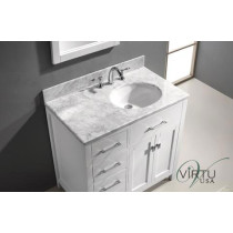 Virtu USA Caroline Parkway (single) 36.9-Inch Left Side White Transitional Bathroom Vanity with Mirror