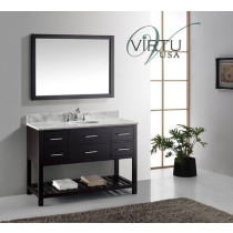 Virtu USA Caroline Estate (single) 48-Inch Espresso Transitional Bathroom Vanity with Mirror