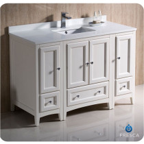 Fresca Oxford (single) 48-Inch Antique White Transitional Modular Bathroom Vanity