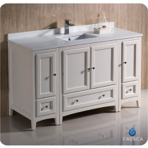 Fresca Oxford (single) 54-Inch Antique White Transitional Modular Bathroom Vanity