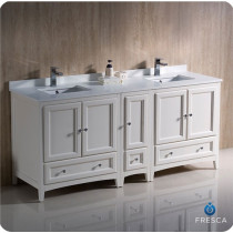 Fresca Oxford (double) 72-Inch Antique White Transitional Modular Bathroom Vanity