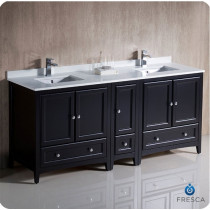 Fresca Oxford (double) 72-Inch Espresso Transitional Modular Bathroom Vanity