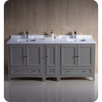 Fresca Oxford (double) 72-Inch Gray Transitional Modular Bathroom Vanity