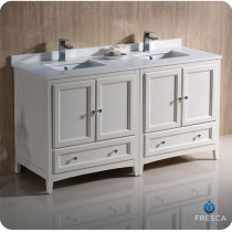 Fresca Oxford (double) 60-Inch Antique White Transitional Modular Bathroom Vanity (Model 2)