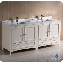 Fresca Oxford (double) 72-Inch Antique White Transitional Modular Bathroom Vanity (Model 2)