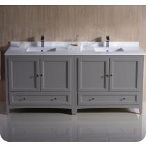Fresca Oxford (double) 72-Inch Gray Transitional Modular Bathroom Vanity (Model 2)