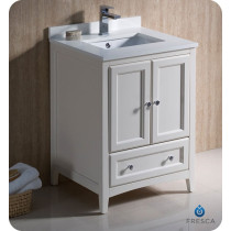 Fresca Oxford (single) 24-Inch Antique White Transitional Bathroom Vanity