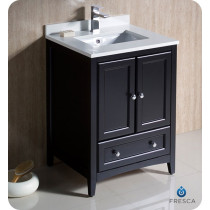 Fresca Oxford (single) 24-Inch Transitional Espresso Bathroom Vanity