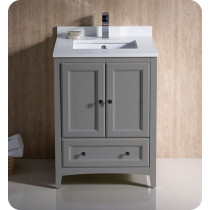 Fresca Oxford (single) 24-Inch Transitional Gray Bathroom Vanity