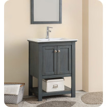 Fresca Manchester Regal (single) 23.5-Inch Gray Wood Veneer Modern Bathroom Vanity