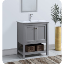 Fresca Manchester (single) 29.5-Inch Gray Modern Bathroom Vanity