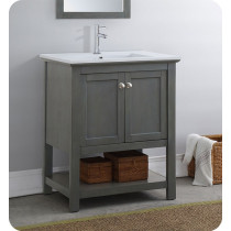 Fresca Manchester Regal (single) 29.5-Inch Gray Wood Veneer Modern Bathroom Vanity