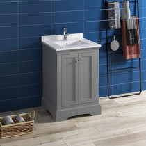 Fresca Windsor (single) 24-Inch Transitional Gray Textured Bathroom Vanity