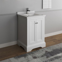 Fresca Windsor (single) 24-Inch Transitional Matte White Bathroom Vanity
