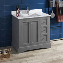 Fresca Windsor (single) 36-Inch Transitional Gray Textured Bathroom Vanity