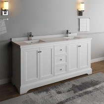 Fresca Windsor (double) 72-Inch Transitional Matte White Bathroom Vanity