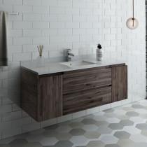 Fresca Formosa (single) 54-Inch Acacia Modern Modular Wall-Mount Bathroom Vanity