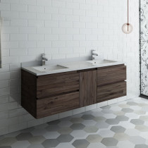 Fresca Formosa (double) 58-Inch Acacia Modern Modular Wall-Mount Bathroom Vanity [Model 2] - Cabinet Only
