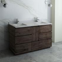Fresca Formosa (double) 58-Inch Acacia Modern Modular Bathroom Vanity [Model 2] - Cabinet Only
