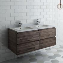 Fresca Formosa (double) 46-Inch Acacia Modern Modular Wall-Mount Bathroom Vanity - Cabinet Only