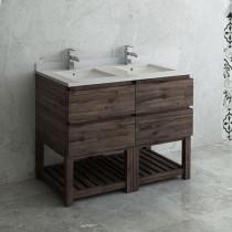 Fresca Formosa (double) 46-Inch Acacia Modern Modular Bathroom Vanity w/ Open Bottom - Cabinet Only