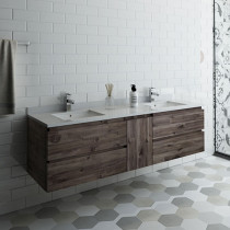 Fresca Formosa (double) 70-Inch Acacia Modern Modular Wall-Mount Bathroom Vanity [Model 2] - Cabinet Only