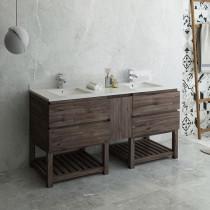 Fresca Formosa (double) 70-Inch Acacia Modern Modular Bathroom Vanity w/ Open Bottom [Model 2] - Cabinet Only