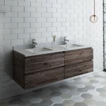 Fresca Formosa (double) 58-Inch Acacia Modern Modular Wall-Mount Bathroom Vanity - Cabinet Only