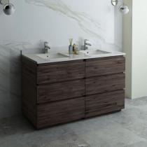 Fresca Formosa (double) 58-Inch Acacia Modern Modular Bathroom Vanity - Cabinet Only