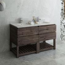Fresca Formosa (double) 58-Inch Acacia Modern Modular Bathroom Vanity w/ Open Bottom - Cabinet Only