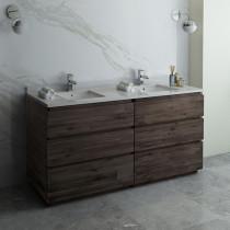 Fresca Formosa (double) 70-Inch Acacia Modern Modular Bathroom Vanity - Cabinet Only